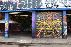 Jersey City - GVM004 - The Demolition Exhibition (wallyg) Tags: streetart graffiti newjersey jerseycity nj jc hudsoncounty harsimuscove pepboys downtownjerseycity greenvillain gvm004 demolitionexhibition pepboysautocenter