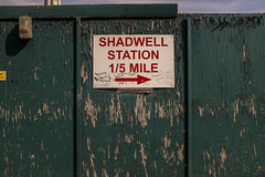 Shadwell Station 1/5 mile (new folder) Tags: london typography 15 mile wapping eastend eastlondon shadwell rightarrow shadwellstation penningtonst shadwellandlimehousewalk