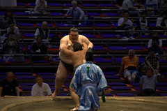 Pushing him out of the dohyo