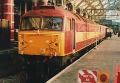 """English Welsh & Scottish Railways Class 47/7, 47727 """"Castell Caerphilli / Caerphilly Castle"""" & Virgin Trains Class 86/2, 86260 """"Driver Wallace Oakes G.C."""" (37190 """"Dalzell"""") Tags: liverpool spoon brush cans ee duff vt revised limestreet virgintrains sulzer englishelectric ews class86 class47 type4 railnet 47569 47727 redgrey maroongold 86048 86260 acelectric class477 class862 englishwelshscottishrailway d1629 e3144 47047 driverwallaceoakesgc castellcaerphillicaerphillycastle"""
