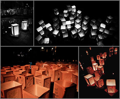 Hiroshima sun - Floating lanterns (Balthus Van Tassel) Tags: italy water japan paper japanese candles hiroshima celebration bologna lanterns flaoting cavaticcio