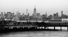 Midtown Manhattan Skyline with Empire State Building viewed from Jersey City NJ (mbell1975) Tags: jerseycity newjersey unitedstates us midtown manhattan skyline with empire state building viewed from jersey city nj bw new york newyork ny nyc usa america american hudson river water skyscraper skyscrapers buildings office