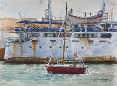 Barcos en el Puerto (P.Barahona) Tags: mar barcos herrumbre veleros