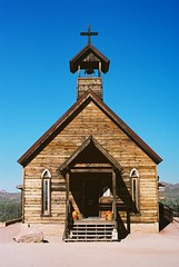 I'd Love To Change The World (Marc Rodriguez 24) Tags: kodak ultramax gold 400 pulled nikon f3 f3hp 50mm 14 5014 ais prime lens 35mm c41 color negative film grain analog analogue goldfield ghost town apache junction arizona old western wooden church chapel