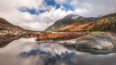 Sunny nature (Einir Wyn Leigh) Tags: sunny nature exposure light mountains wales reflections blue clouds sky outdoor natur natural snow neige nikon sigma colour colourful color water lake snowdonianationalpark beauty isolate orange love passion