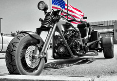 Aug 2011 - Around Sturgis during the rally v113 (La_Z_Photog) Tags: lazy photog elliott photography worland wyoming motorcycle rally annual event black hills classic races selective color red white blue american flag trike v8