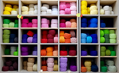 Colorful Yarn (Mondmann) Tags: yarn coloredyarn colorful multicolored market seoul korea southkorea rok republicofkorea asia eastasia hoehyeonundergroundshoppingcenter shoppingcenter mondmann fujifilmxt10