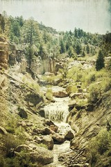 sounds of falling water (jssteak) Tags: trees water forest canon vintage waterfall colorado canyon boulder aged hdr castlewoodcanyon t1i