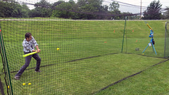 Testing out the batting cage