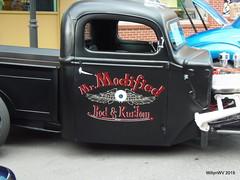 "1947 Ford ""Mr. Modified"" (WillynWV) Tags: show red white black cars ford truck whitewalls engine pickup tires chrome westvirginia hotrod trucks custom pinstripe 1947 marshallcounty moundsville ohiovalley openhood gotowv gregyohomemorialcarshow mrmodified"