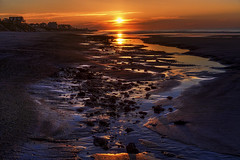 Purple Sunrise (NYRBlue94) Tags: ocean morning light sea cloud sun seascape reflection beach water pool rock clouds sunrise river dawn coast early nc sand glow waterfront purple tide low north shell atlantic shore carolina seashore tidal topsail hdr