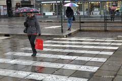 1402_Torino_Pioggia_1012 (UrBert) Tags: red italy woman reflection rain umbrella torino crosswalk rosso riflessi pioggia borse bianche strisce whithe ombrelli