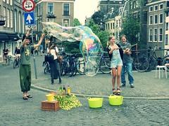 Blowing bubbles (JoséDay) Tags: holland amazing utrecht thenetherlands streetscene flickrfriends pointshoot july7 dutchtreat flickrstar nikoncoolpixp500 flickrsun opdegracht 2015photoadaychallengegroup shootclick 2015pad188