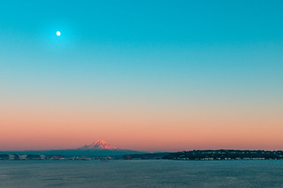 Sunset Moon Over Elliot Bay