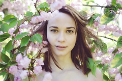 Rachel | Crab Apple (Jessica Lisbeth) Tags: pink flowers portrait tree girl leaves fashion spring may brunette mayflowers