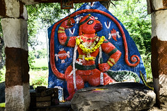 The Red Hanuman on Blue at Hampi (Anoop Negi) Tags: hanuman hanumana anjaneya hindu monkey god devotion lord rama red blue hampi india travel ringing bell ring wayside temple photo photography anoop negi ezee123 ramayana ramacharitmanas karnataka
