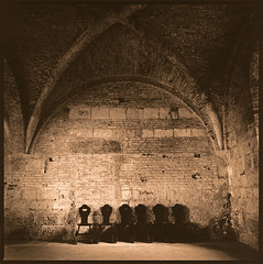Monks chairs (Antonio's darkroom) Tags: hasselblad kodak trix pyrocathd ilford wt se1 sepia moersch thiourea mt3 mt2 carbon abbey abbazia monks toned