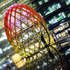 Shooting OVO at Canary Wharf 2017 (Waving lights in the dark) Tags: canarywharf london winter lights winterlights illumination illuminated led shooting ovo installation lightart afterdark nightphotography night nightlights reflection reflections dutch angle dutchangle person figure silhouette city