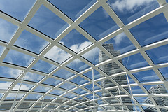 Interplay of lines (Jan van der Wolf) Tags: map161276v denhaag lines lijnenspel interplayoflines architecture station playoflines architectuur metro geometric geometry sky clouds wolken