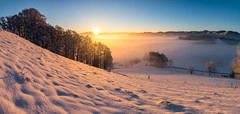 Winter Sunrise (PhiiiiiiiL) Tags: gähwil sanktgallen schweiz ch toggenburg switzerland mist fog sunrise panorama