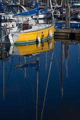 Sun Dancer (ShrubMonkey (Julian Heritage)) Tags: sundancer yacht boat refelction calm tranquil chichestermarina marina harbour chichester coast yellow sonyalpha
