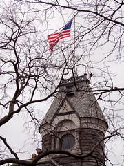 Belvedere Castle Tower (deepaqua) Tags: branch centralpark flag tree nyc belvederecastle