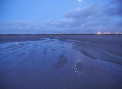 Crosby Beach (Maggie's Camera) Tags: dusk evening darkness night blue water sand sea estuary crosbybeach liverpool merseyside anthonygormley winter january2017