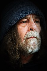Dumbfucker (Allan Saw) Tags: self portrait selfie black background head sgote closeup me male man beenie hat moody old hippie