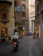 Get some of the best coffee in Rome at the Caffè Tazza D'Oro (Cup of Gold). (John Elmslie) Tags: rome roma caffè tazza doro cafe street pantheon bike motorcycle man cobblestones