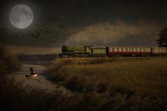 Fishing by Moonlight (brian_stoddart) Tags: boat birds moon manipulated trains steam railways night river field