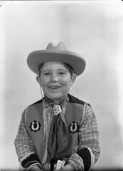 img424 (foundin_a_attic) Tags: glass slides fashion portrait boy cowboy fancy dress custure horseshoe costume hat toy gun hourse
