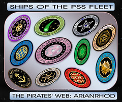 Ships_PSS_Fleet_Jan2017_01 (Sub Martis) Tags: piratesweb arianrhod pirates pirateship spacepirate spacepirates sandicayless sciencefiction space spaceship starship wwwsubmartiscom submartis skullandcrossbones jollyrowena flag tallulah obsidiansky obsidian greencomet hexameter karillion urania emerald quarkstorm equinox labyrinth badge emblem insignia image adventure