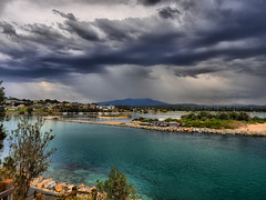 Heavy rain approaches II (elphweb) Tags: hdr highdynamicrange narooma nsw australia seascape ocean coast coastal water inlet waters blue turquoise aqua sky skies dramaticsky rainy rain clouds cloud town