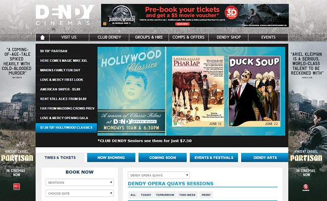 Hollywood Classics season start MI on Dendy Sydney website