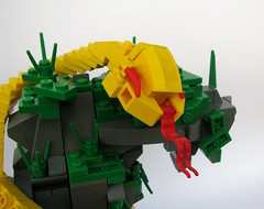 Slithering Around on Wastyria (gid617) Tags: blue light red white color green water grass yellow rock tongue dark grey lego snake background transparent trans rockwork