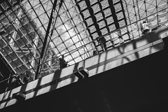 berlin mainstation #1 (JFRYBLN) Tags: bridge bw berlin glass monochrome blackwhite escalator roofs hauptbahnhof transportation mainstation fassade leicam9p