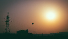 Balloon (davit.andreasyan) Tags: city travel blue light sunset red summer sky sun white black color green colors beautiful beauty architecture clouds sunrise canon photography photo high colorful day shadows image balloon pole wires gradient voltage 500px