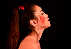 Gorgeous (MKStallings Photography) Tags: red portrait love girl beauty pain hurt blood model cut makeup surreal latex ribbon conceptual scar scrape