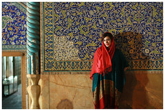 The Red Veiled (pedramatic) Tags: blue red sky love girl smile scarf canon persian veiled iran persia mosque iranian lovely f18  esfahan isfahan mylove   redscarf     sheikhlotfollah pedram   hereyes    canoneos450d     pedramatic     theredveiled agirlwitharedscarf