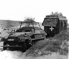 SdKfz 251 half tracks towing Erwin Rommel's caravan