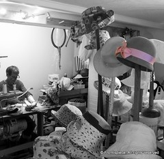 HAT MAKER (Frontispiece) Tags: pink sewing caps fabric cotton dorset milliner recycle sewingmachine lymeregis pinkribbon fabrics bobbins berets strawhats felthats hatmaker sunhats woollyhats picturehats popgoestheweasel weddinghats coombestreet trilbyhats jumperhats sinamaycreations dt73pr tutcher fabriccloches alisontutcher millineralisontutcher vintageveiledcocktailhats 19coombestreet