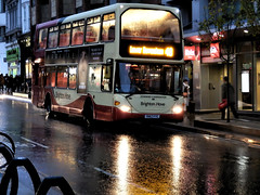 Brighton & Hove Bus 675. (ManOfYorkshire) Tags: edwardcarpenter brightonhove bus dusk lights route48 lowerbevendean scania omnidekka eastlancs yn57fyc 675 queensrd brighton reflection wet ibis hotel road