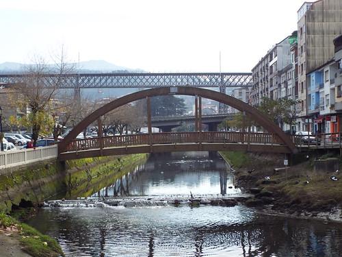 puentes para todos, peatones coches y trenes.