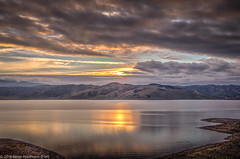 Lake Sunset in December (NormFox) Tags: california clouds hdr lake mountains outdoors reflection sunset water
