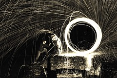 Hold Back the Fire (neal1973) Tags: dark night 600d canon longexposure man heat hot sparks umbrella burning wirewool fire