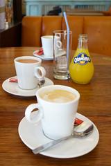 day fourteen: paris (dolanh) Tags: france cafe orangina cappucino paris cocoa coffee