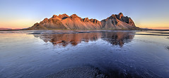 Reflections of Dawn (Nick L) Tags: stokksnes stokknes stokkness vestrahorn vesturhorn iceland ice icelandic reflection mountains landscape mountain dawn sunrise canonef1124f4l horn stockness hofn islande höfn