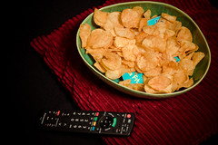 Missing book ~ 019/365 2017 (joriks) Tags: 2017 365 book silly chrisps chips potato tv movie night remote fun funny stupid bowl pillow sofa flash canon 70d