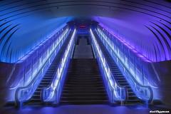 Blue cave (daccha) Tags: blue cave architecture escalator purple city cityscape night nightscape nightphoto hdr japan urban color 日本