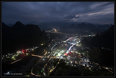 Xinping Town in Dusk (JozefMindok) Tags: 2016 china xingping city village dusk clouds sky dramatic yangshuo guangxi colorlights trail autumn beautiful cityscape town tourism